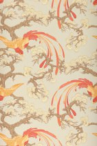 Wallpaper Matilda Matt Trees Stylised blossoms Birds Light beige grey Beige Pale red Brown beige Light grey brown Sand