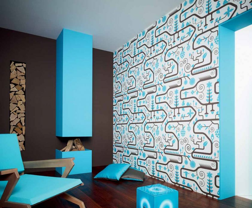 Archiv Wallpaper Ranita light blue Room View