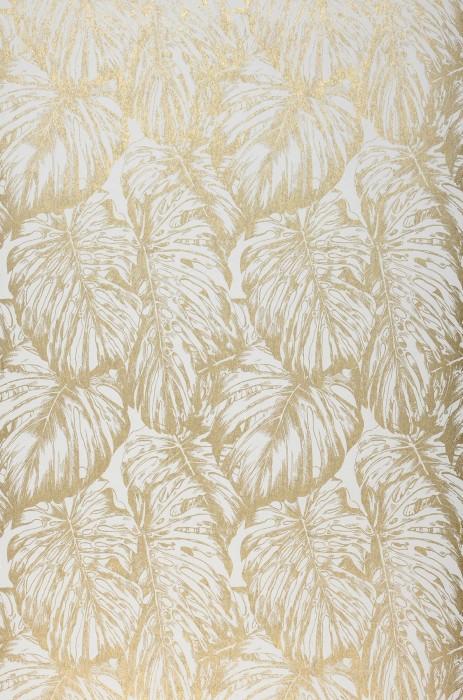 Papier peint Raisa Motif chatoyant Surface mate Feuilles Blanc crème Doré brillant