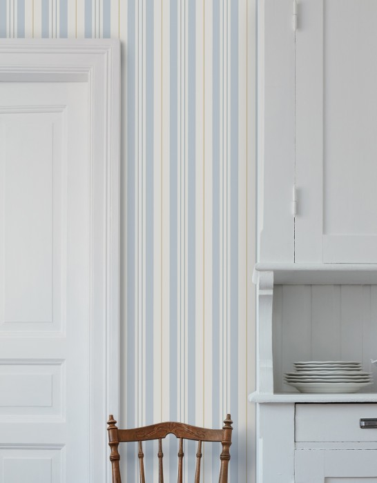 Wallpaper Willa Matt Stripes Cream Azure blue Pale blue Pearl gold