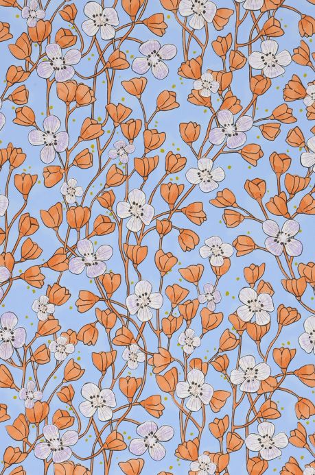 Floral Wallpaper Wallpaper Videnna orange brown A4 Detail