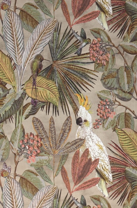 Wallpaper Sahra Matt Leaves Fruits Butterflies Birds Light grey beige Antique pink Beige grey Dark brown Shades of green