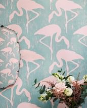 Wallpaper Lahore Matt Flamingos Pastel turquoise Light pink
