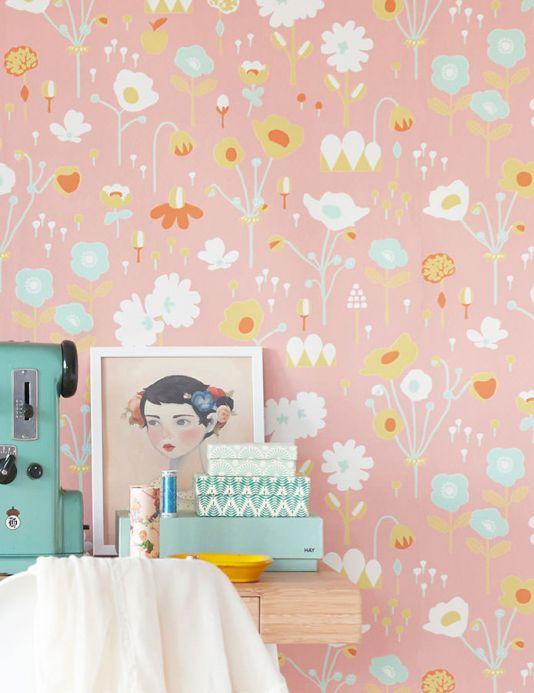 Floral Wallpaper Wallpaper Bloom beige red Room View