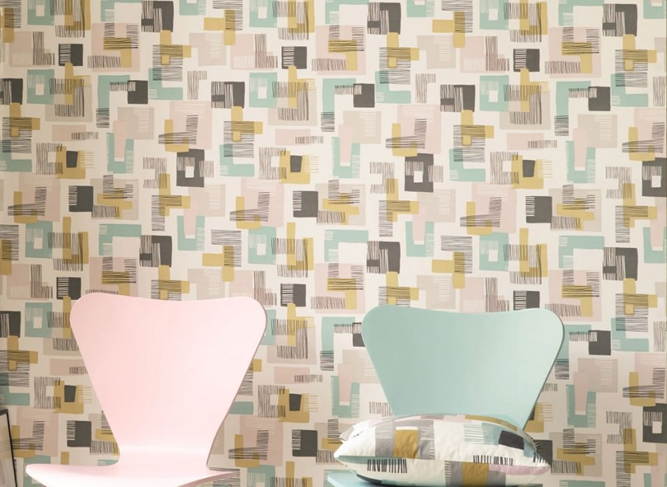 Wallpaper Felipe Matt Graphic elements Retro elements Cream Pale pink Mint turquoise Sand yellow Black grey
