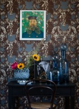Wallpaper Sir Grace Matt Baroque damask Fruits Lions Horses Birds Blue grey Brown white Chocolate brown