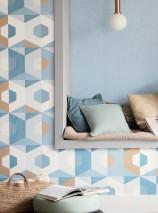 Carta da parati Fabrice Opaco Elementi grafici Esagoni Turchese menta Marrone ocra brillante Blu oceano Bianco