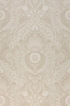 Carta da parati Luska Opaco Damasco floreale Bianco perlato Beige