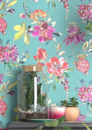 Wallpaper Candice pastel turquoise