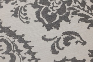 Wallpaper Heigold Matt Looks like textile Baroque damask Grey white Dark grey glitter