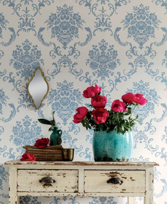 Classic Wallpaper Wallpaper Emmeline pastel blue Room View
