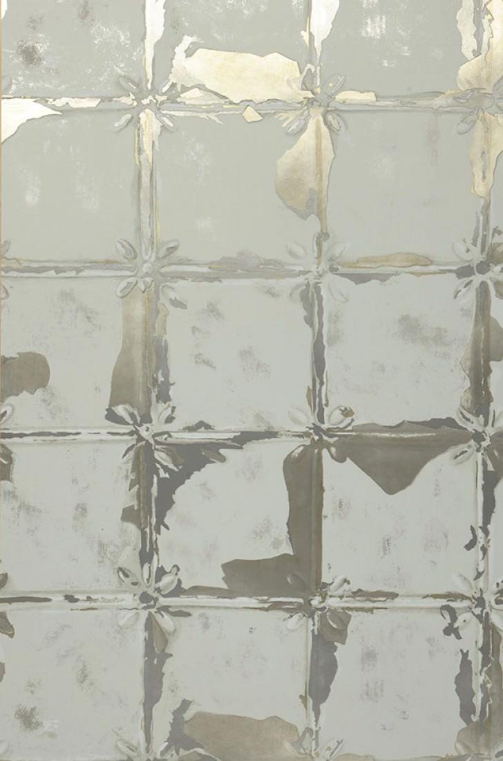 Papier peint abiona gris clair blanc or m tallique for Papier peint effet carrelage