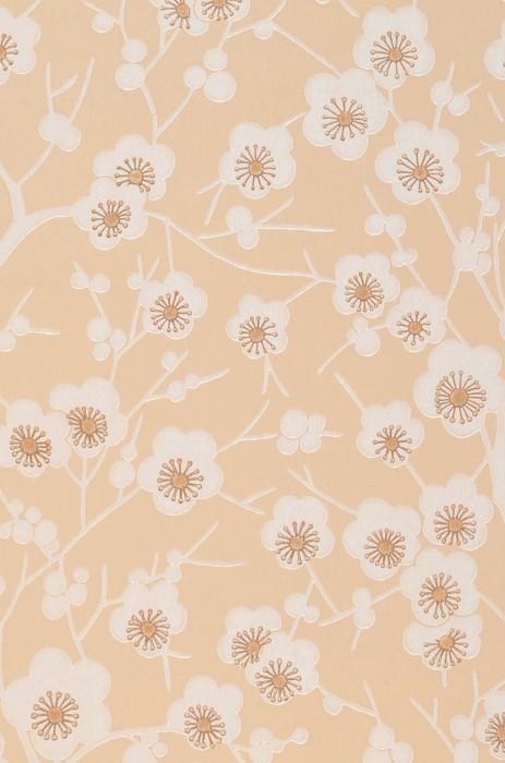 Wallpaper Laila Hand printed look Matt Flower tendrils Cherry blossoms Light beige Brown Cream