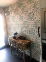 Wallpaper Azulejos Matt Oriental Tiling Motif Cream Grey brown Green brown Patina green Pigeon blue