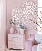 Wallpaper Aphrodite Matt pattern Shimmering base surface Floral Elements Silver Pale rosé