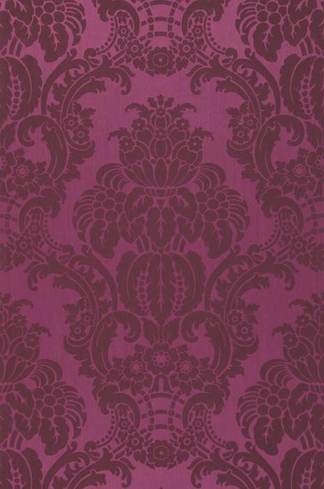 Papel de parede Leandra Brilhante Damasco barroco Violeta Violeta carmesim