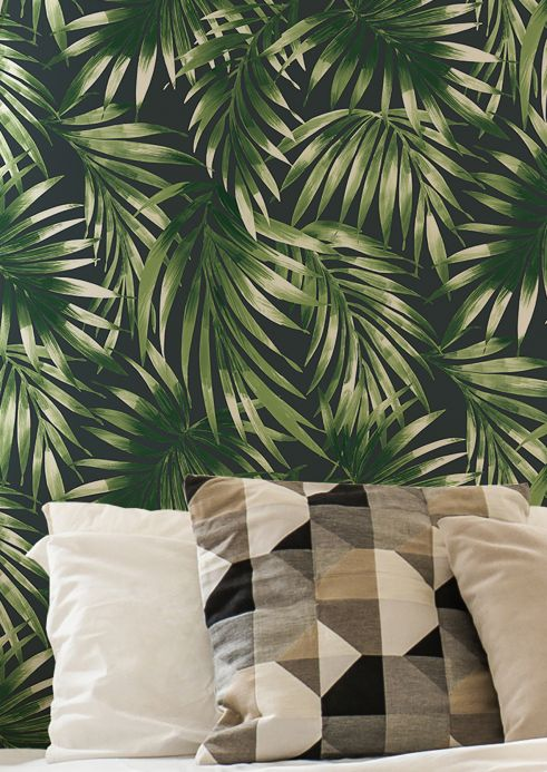 Botanical Wallpaper Wallpaper Zohra dark green Room View