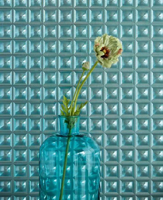 Papier peint géométrique Papier peint Gorgo turquoise lustre Vue pièce