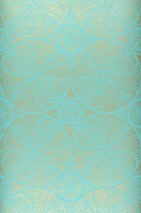 Wallpaper Kassandra Shimmering pattern Matt base surface Floral damask Geometrical elements Turquoise Gold