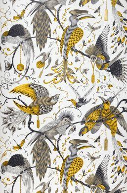Papel de parede Audubon amarelo Largura do rolo