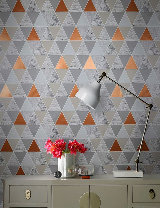 Graphic wallpaper Wallpaper Zento copper shimmer Room View