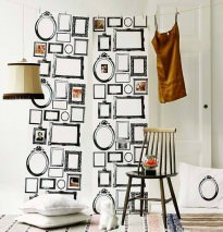 Wallpaper Familjen Matt Picture frames Cream Black