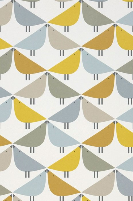 Wallpaper Marga Matt Stylised birds Cream Pebble grey Ochre yellow Olive green Pastel blue Lemon yellow