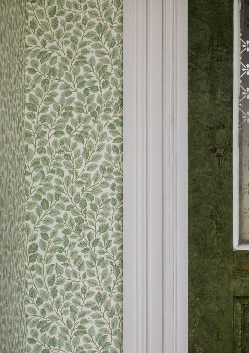 Botanical Wallpaper Wallpaper Malva pale green Room View