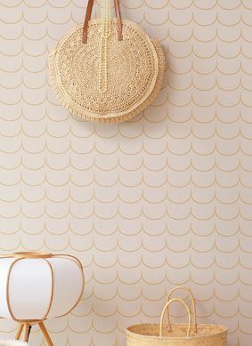 Papel pintado Drop Curtain crema Raumansicht