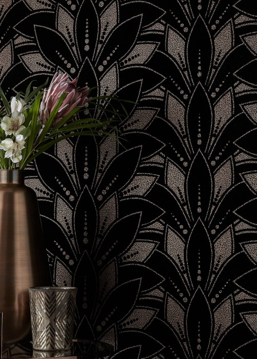 Wallpaper Fadila Matt pattern Shimmering base surface Art Deco Stylised blossoms Gold shimmer Grey Black