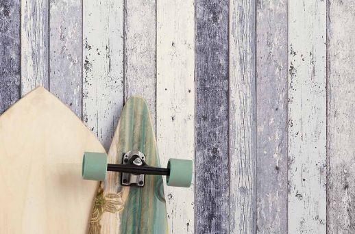 Carta da parati Old Planks blu grigiastro Visuale camera