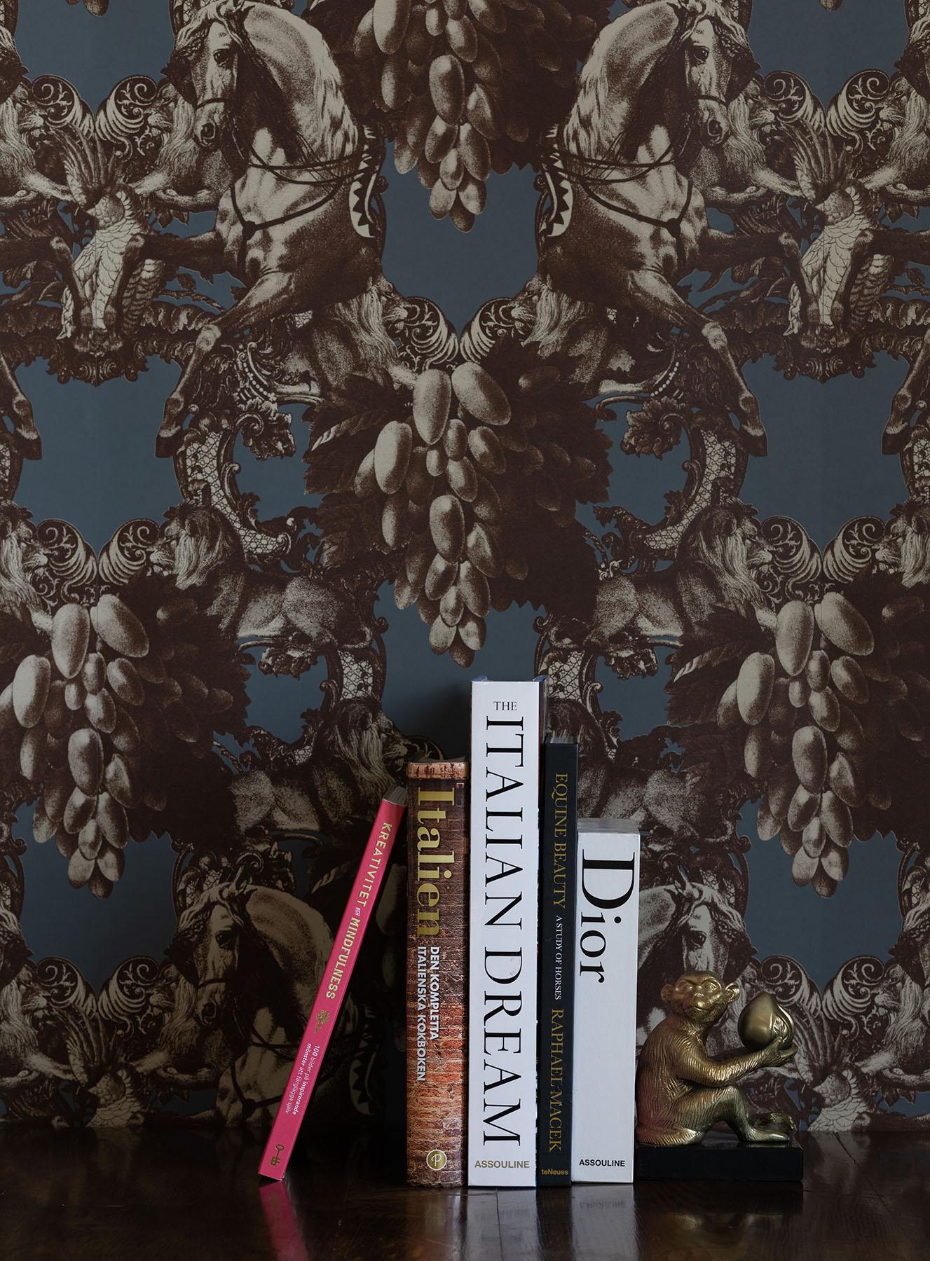 Gold Dante Blue Damask Matt Wallpaper