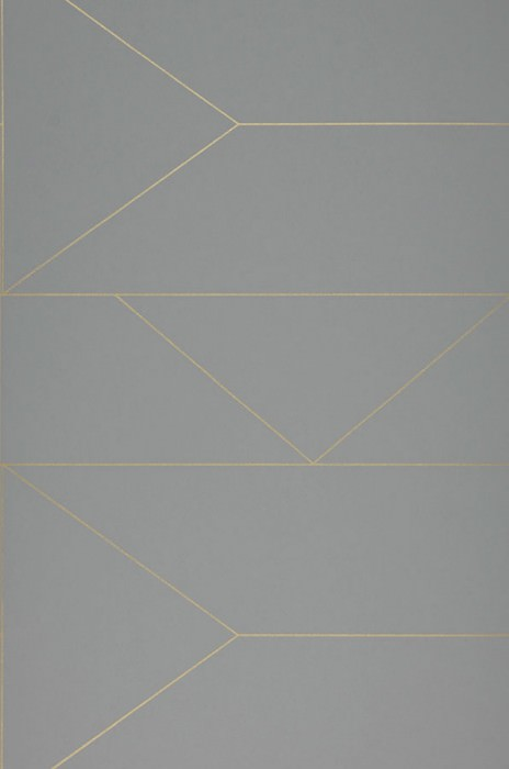 Wallpaper Lines Hand printed look Matt Graphic elements Grey Gold shimmer