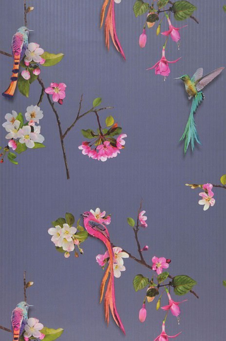 Wallpaper Ornella Matt Birds Branches with blossoms Violet Heather violet Grey brown Green Orange Turquoise