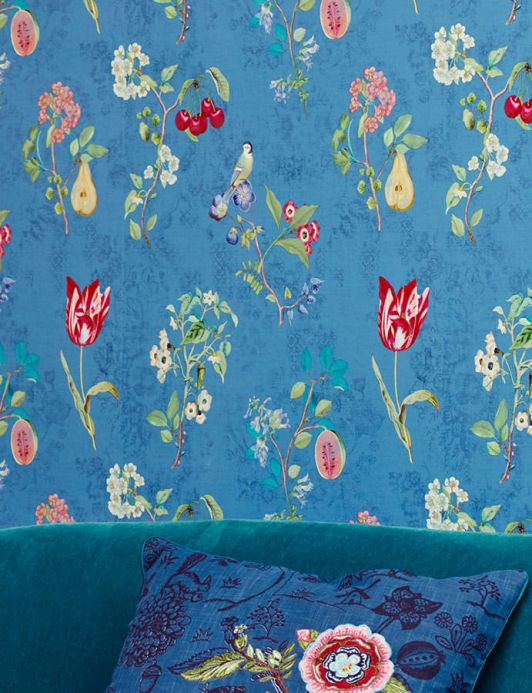 Floral Wallpaper Wallpaper Mallorie blue Room View