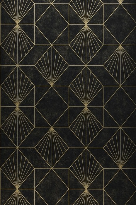 Wallpaper Maurus Shimmering Graphic elements Gold Black