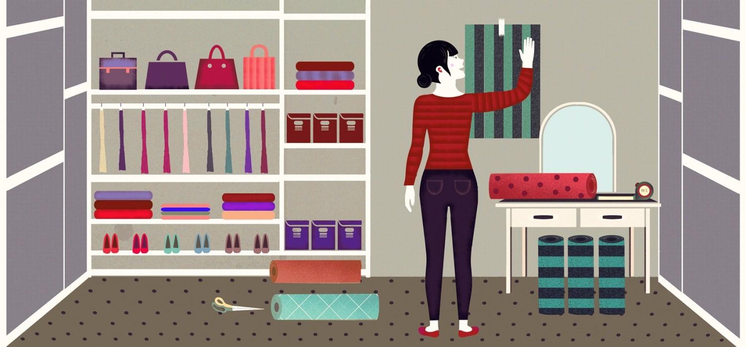 les papiers peints pour les dressings des papiers peints tendance et adapt s cet espace. Black Bedroom Furniture Sets. Home Design Ideas