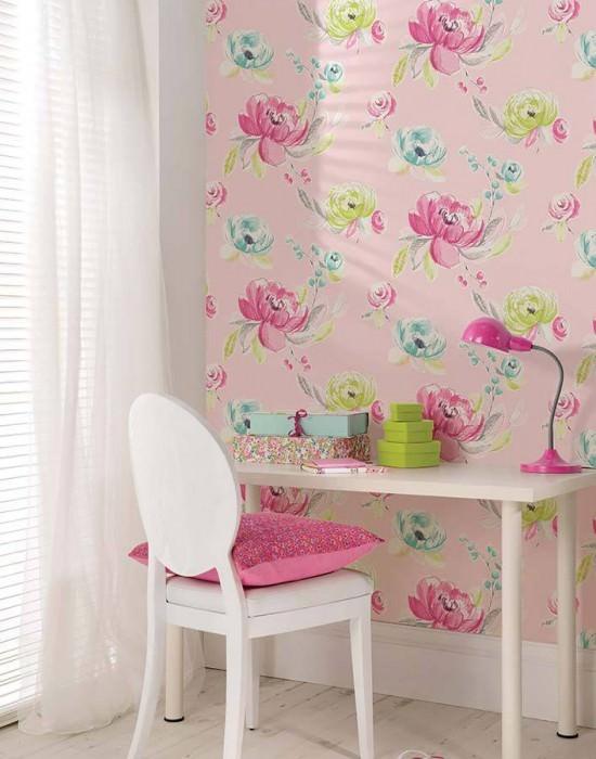 Wallpaper Seraphine Matt Flowers Light pink Pale turquoise Heather violet Yellow green White