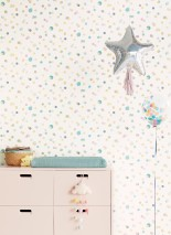 Wallpaper Sally Matt Dots Cream Light yellow Pastel green Pearl beige Turquoise blue