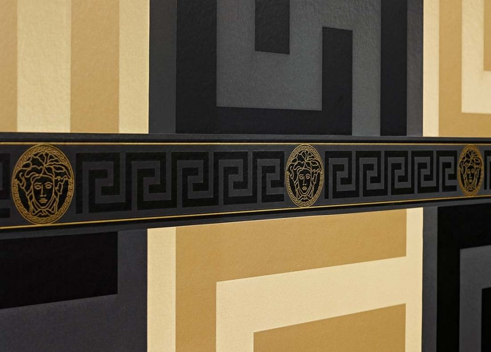 Wallpaper Arabella Shimmering Geometrical elements Black Gold