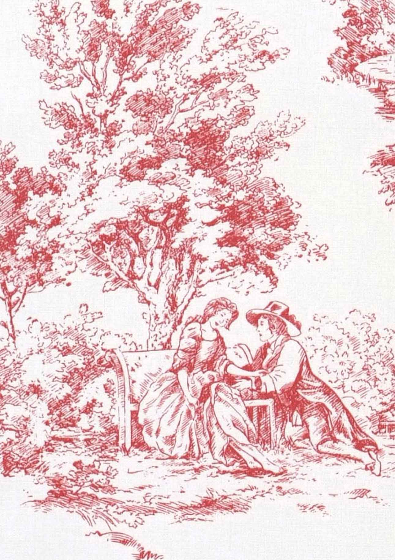 Wallpaper toile de jouy white red wallpaper from the 70s - Vichy et toile de jouy ...
