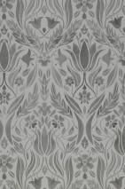 Papier peint Sibuda Mat Damassé floral Gris clair  Gris foncé