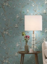 Wallpaper Malabar Matt Branches with leaves and blossoms Pastel turquoise Pale yellow Grey tones Grey white Shades of green