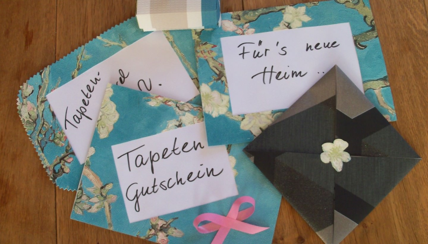 The best use for your wallpaper cut-offs: Wallpaper Vouchers… made from wallpaper!
