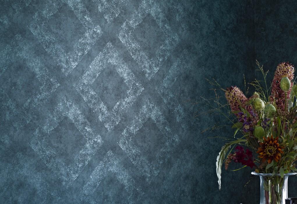 Wallpaper Aurim Shimmering pattern Matt base surface Rhombuses Grey blue Pearl pale blue