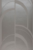 Papel pintado Arches Patrón brillante Superficie base mate Art Deco Curvas Gris platino Gris beige brillante