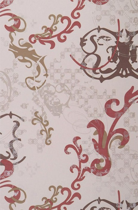 Wallpaper Kallisto Matt Modern elements Light ivory Red brown Sepia brown White gold