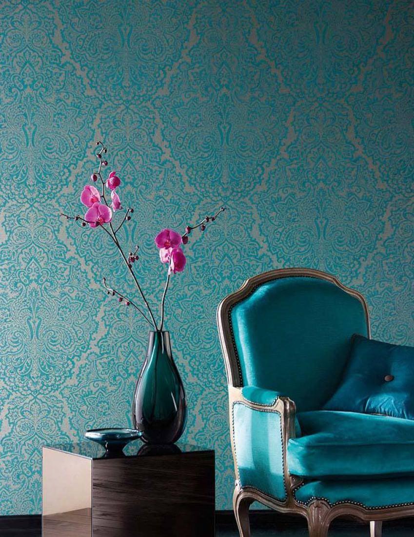 Perun oro blanco azul turquesa papel pintado barroco - Papel pintado anos 70 ...