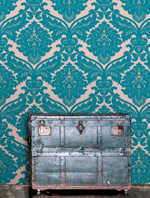 Damask Wallpaper Wallpaper Samanta turquoise blue Room View