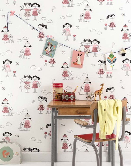 Wallpaper Amelle Matt Flowers Hounds Girls Birds Clouds Cream Grey Rose Black Wine red